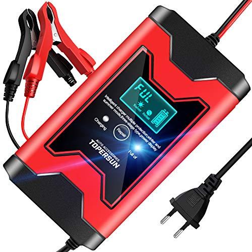 TOPERSUN Cargador de Batería Coche Rápido 6A 12V Mantenimiento Automático Inteligente Cargadores de baterías con Pantalla LCD para Moto Automóviles Barco