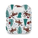 Thirsties Newborn All in One Cloth Diaper, Hook & Loop Closure, Merry Moose-mas (5-14 lbs)