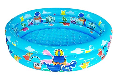 """Big Summer 3 Rings Kiddie Pool for Toddler, 48""""X12"""",Kids Swimming Pool, Inflatable Baby Ball Pit Pool (Blue)"""
