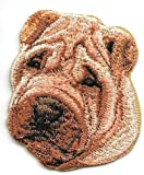 Iron On Embroidered Brown Chinese Shar-Pei Portrait Dog Breed Applique Patch, 1 3/4' x 2'
