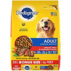 Contains one (1) 33 lb. bag of PEDIGREE Complete Nutrition Adult Dry Dog Food, Grilled Steak & Vegetable Flavor This dry food recipe helps maintain a healthy lifestyle with antioxidants, vitamins, and minerals, in the delicious, meaty steak flavor do...