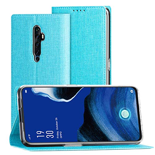 CRESEE Oppo Reno2 Z/Reno 2Z Hülle, PU Leder Schutzhülle mit Kartenfach, Tasche Hülle Flip Cover Standfunktion Stoßfest Brieftasche Handyhülle für Oppo Reno 2 Z (Blau)