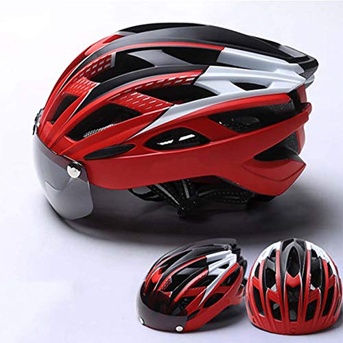 LIYAN Casco de Bicicleta con Gafas magnéticas Desmontables Escudo Visera para Hombres de Mujer, Ciclismo montaña y Carretera Cascos de Bicicleta