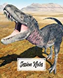 """Session Notes Log: A Logbook to Record Client Appointments, Therapeutic Interventions, Psychotherapists and Clinicians, 120 Pages, Size 8"""" x 10"""" Dinosaur Tarbosaurus Design by Irma Reimann"""