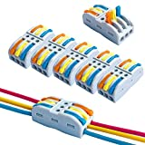 QitinDasen 12Pcs Premium SPL-3 Palanca Tuerca Cable Conector Set, 3 Vía 6 Puerto Conductor Compacto Cable Conector, Rápido Resorte Conector Bloque Terminal (Palanca Multicolor)