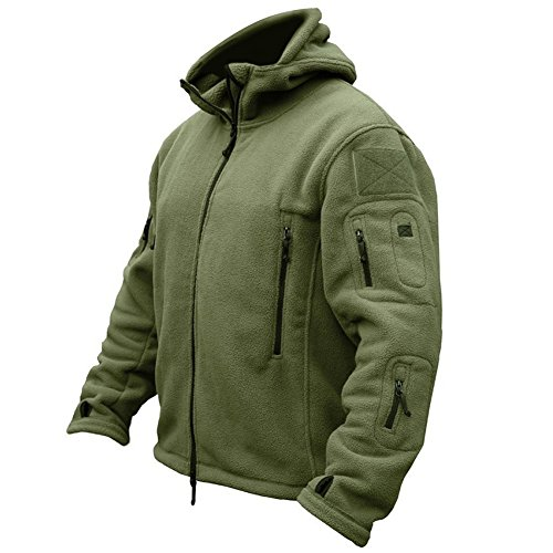 ReFire Gear Men's Warm Military Tactical Sport Fleece Hoodie Jacket, Army Green, Medium
