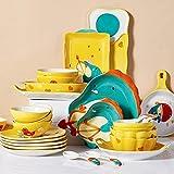 Juego de cena de gama alta, juegos de cena de cerámica, juego de vajilla de estilo de dibujos animados de dinosaurio de alivio Juego de 34 |Juego de cuenco de porcelana para cereales y plato para bi