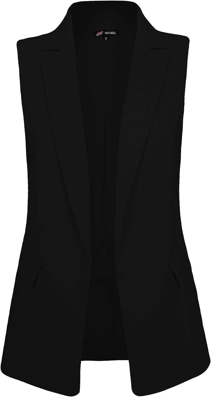 Michel Womens Sleeveless Longline Lapel Blazer Open Front Vest Jacket with Plus Size (1XL ~ 3XL)