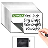 Dry Erase Sticky Notes - Reusable Whiteboard Stickers 4'x6' - 12 Pack - Suitable for All Smooth Surface - Great for Labels, Lists, Reminders and Decals - Washable, Removable and Eco-Friendly !