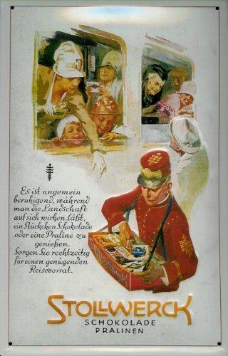Buddel-Bini Versand Blechschild Nostalgieschild Stollwerk Schokolade Pralinen Stollwerck Schild Reklame