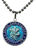 St. Christopher Surf Necklace, Large Pendant, Aqua...