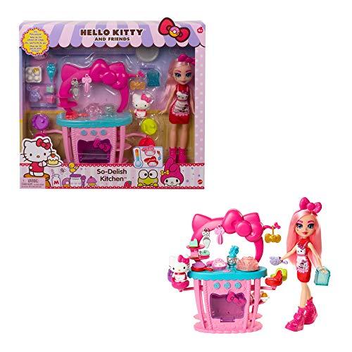 Hello Kitty Cucina Dolci Dolcetti, Playset con Mini Personaggio, Bambola Éclair e 25 Accessori, Giocattolo per Bambini 3+Anni,GWX05