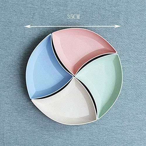 Platos llanos Vajilla de la placa de la placa de la placa de la placa de la combinación del círculo redondo del círculo de la bandeja de la bandeja de los platos de la fruta de Sara para el almuerzo y