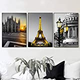 EDGIFT2 Carteles e Impresiones Minimalistas nórdicas Paris City Church Wall Art Canvas Painting Vintage Kids Wall Pictures para la decoración de la Sala de Estar 50x70cmx3 (Sin Marco)