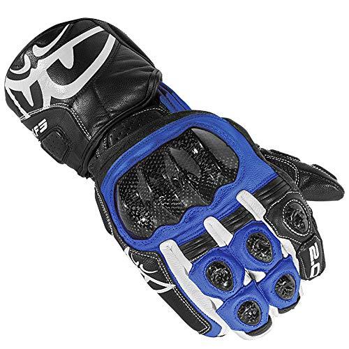 Berik Zakura Motorrad-Handschuhe aus Carbon, lange Manschette, Lederhandschuhe (schwarz/blau, XL)