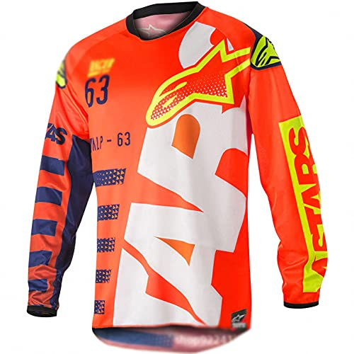 AGLT Maillot de Ciclismo Hombres,Ropa de Descenso Manga Corta/Larga MTB Jersey Camiseta de Bicicleta Moto Ciclismo Manga Larga,Orange,2XS
