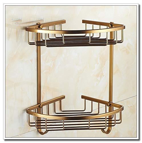 Bad Eckregal Antike Bronze Badezimmer Dusche Regal Shampoo Halter Regale Lagerung Regal Rack-Badezimmer-Korb-Halter Organisation (Color : 2 Level D)