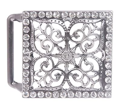 Perforated Square Rhinestone Flower Belt Buckle Color: Antic Silver