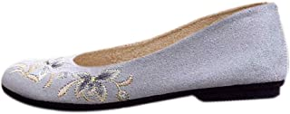 Inlefen Female Flat Retro Chinese Style Round Toe Embroidered Shoes with Cotton