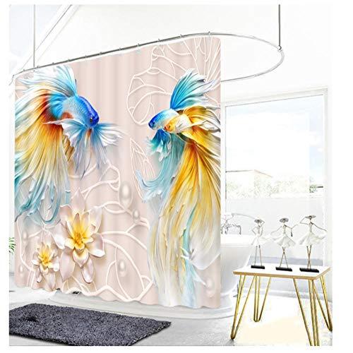 ZKPYY 3D goudvissen bloem reliëf patroon douchegordijn badkamer gordijn dikke waterdichte douchegordijn