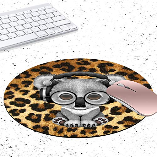 Gaming Mouse Pad, Leopard Print Koala Non-Slip Rubber Circular Mouse Pads Customized Designed for Home and Office, 7.9 x 7.9inch