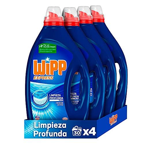 Wipp Express Detergente Líquido Azul para lavadora 30 Lavados - Pack de 4, Total: 120 Lavados