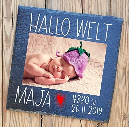 Personalisierte Geburtstafel auf Schiefer | Baby-Geschenk für Mutter und Vater | Schiefertafel mit ihren persönlichen Fotos | individuelle Geschenke zur Geburt