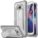 YOUMAKER Schutzhülle für Galaxy S8 mit Standfuß mit integriertem Bildschirmschutz robust stoßfest case Rugged S8 Cover für Samsung Galaxy S8 (5,8 Zoll), Weiß/Grau