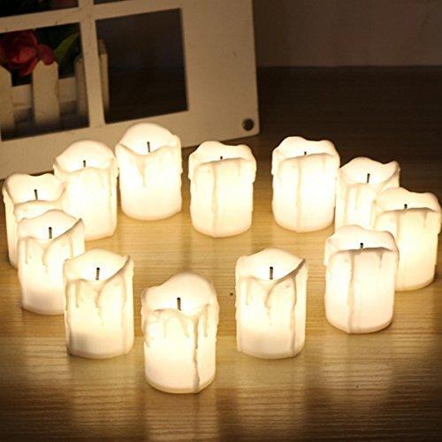 Bureze Lot de 12 Bougies Chauffe-Plat LED sans Flamme vacillantes