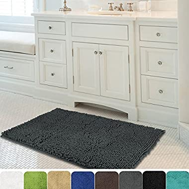 MAYSHINE 24x39 inch Non-slip Bathroom Rug Shag Shower Mat Machine-washable Bath mats with Water Absorbent Soft Microfibers of - Dark Gray