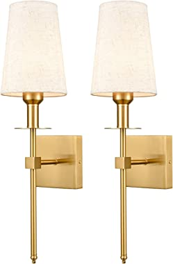 Gold Wall Sconce Sets of 2 Beige Linen Shade Plug-in Porch Light Modern Sconces Brass Wall Lamp Lighting