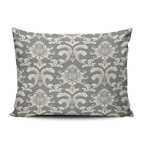 RGEMK Home Decor Sofa Pillowcase Cushion Cover Vintage Elegant Baroque Flower Throw Pillow Case Hidden Zipper One Side Printed Queen Size 20 x 30 Inch