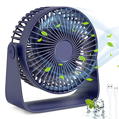 Ventilador de escritorio portátil, ventilador de mesa pequeño con 3 velocidades, viento fuerte, funcionamiento silencioso, refrigeración para el hogar, oficina, viajes, camping