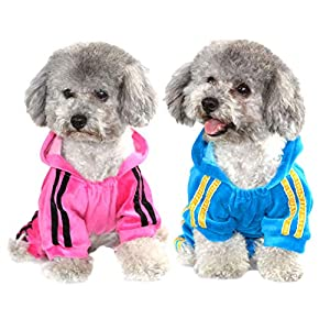 SELMAI Dog Hoodies Jumpsuit for Small Dog Cat Puppy Rhinestone Crown Soft Velvet Winter Hooded Pajamas Tracksuit Outfits Sportswear Jacket with Hat Training Outdoor Pack of 2 Colors M