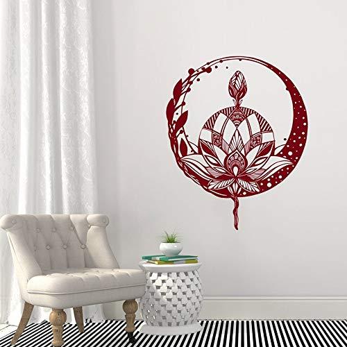 Lotus bloem muursticker, mandala sticker, yoga studio decoratie, boheemse meditatie muur kunst, bloemenmuurschilderingen A5 57x70cm