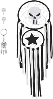 ZUEXT Skulls and Five-Star Dream Catchers for Bedroom 7.09 x 24.9 Inch Black & White, Handmade Gothic Dreamcatcher for Kids, Macrame Wall Hanging Decor, Boho Pirate Theme Nursery Birthday Party Decor