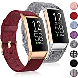 (2 Pack) Witzon Fabric Woven Bands Compatible with Fitbit Charge 4 / Charge 3 / Charge 3 SE, Breathable Canvas Replacement Straps Wristbands Accessories for Women Men, Grey Wine, Small
