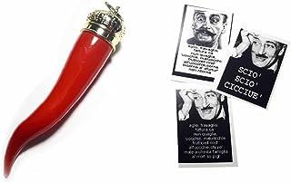 ricevi 2 corni Grandi 14 cm Circa e Una Scheda Toto' Omaggio a Sorpresa,gobbo Mano Corna Corno amuleto Horn Charms Lucky g...