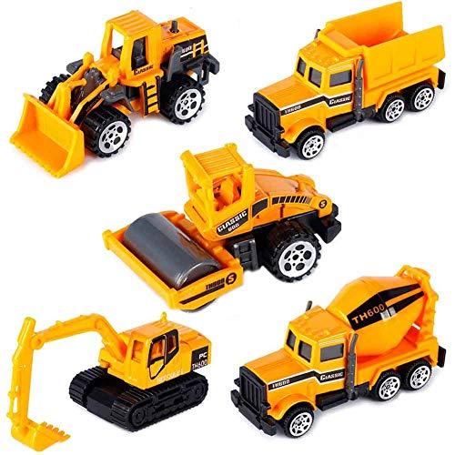INTVN Camión de ingeniería Mini Modelos de construcción Vehículo de Construcción Juguete para Niños 3 4 5 años , Conjunto de 5