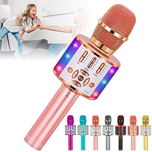 Amazmic Kids Karaoke Machine Microphone Toy Portable Bluetooth Microphone Machine Handheld with LED Lights, Gift for Children's Birthday Party, Home KTV(Rose Gold)