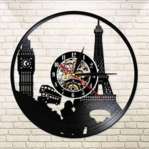 kkkjjj Reloj de Pared de Vinilo Paris London Travel Disco de Vinilo Reloj de Cuarzo silencioso Torre Big Ben Reloj Disco de Vinilo Reloj de Pared 12 Pulgadas