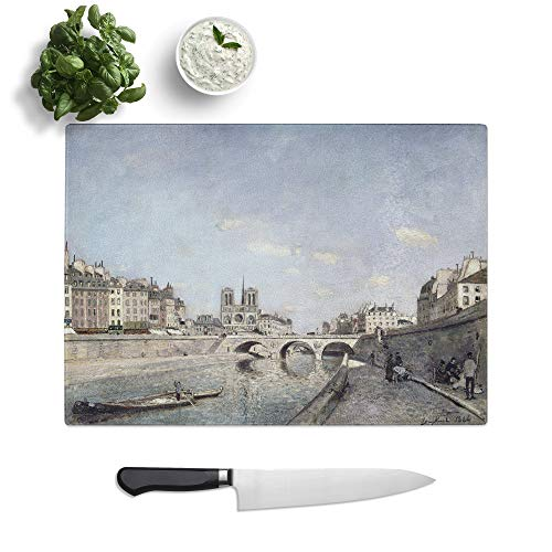 Glass Chopping Board - Johan Jongkind The Seine and Notre Dame in Paris - Textured Worktop Saver Cutting Board - Heat Resistant, Shatterproof and Hygenic - 39 x 28.5 cm