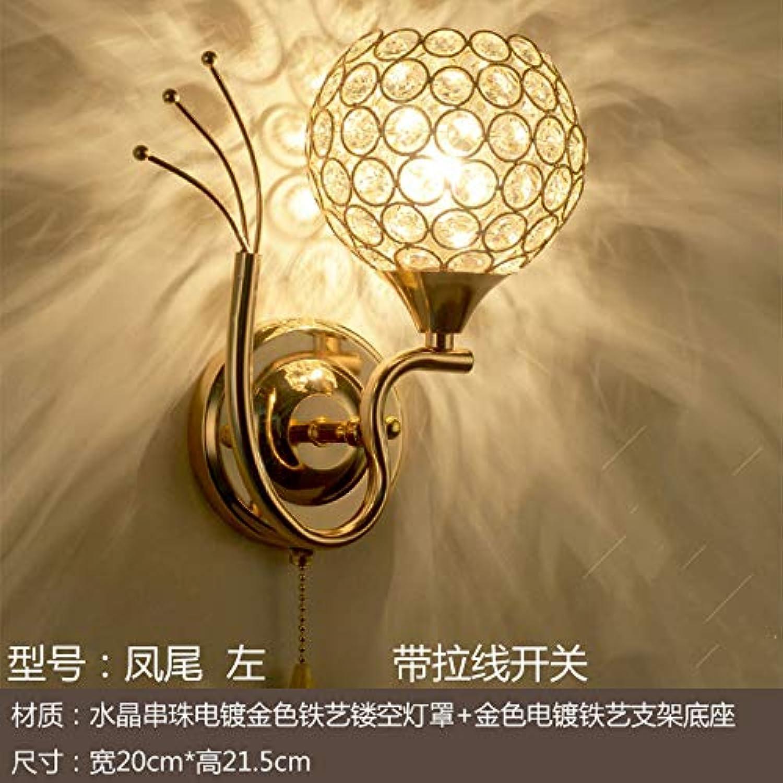 Moderne minimalistische LED wandleuchte schlafzimmer nachttischlampe balkon gang doppel kristall kreative wohnzimmer wandleuchte, Fengwei links mit zugschalter
