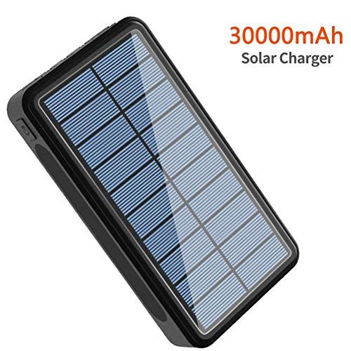 Beirich 30000mAh Chargeur Solaire, Solar Power Banque de Charge Rapide Portable Chargeur de téléphone Externe de Sauvegarde Batterie avec Sortie 2 USB pour Android et Plus,Noir