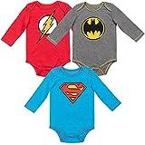 Warner Bros. Justice League Superman Batman Flash Baby Boys 3 Pack Long Sleeve Bodysuit 0-3 Months