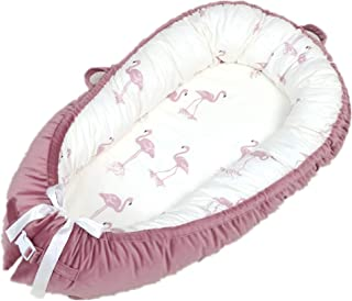 Abreeze Baby Bassinet for Bed Flamingo-Dark Pink Baby Lounger Breathable & Hypoallergenic Co-Sleeping Baby Bed - 100% Cotton Portable Crib for Bedroom/Travel 0-24Month