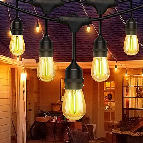 Balippe Guirnaldas Luces Exteriore,50FT/15M S14 Luz LED Luminosas de Exterior 15 + 2 Bombilla de Repuesto,IP65 resistente al agua, Cadena de luces para jardín, terraza, fiesta, boda - blanco cálido