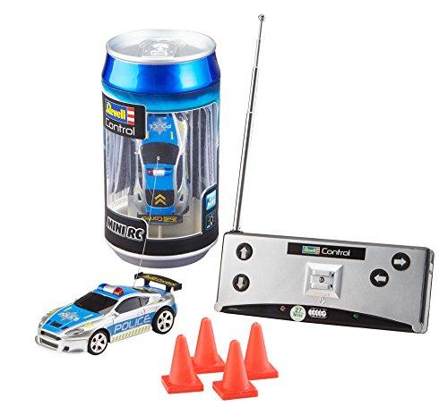 Revell 23559 Mini RC Police Car aus der Dose mit 27MHz-Fernsteuerung inkl. Ladefunktion, LED-Licht, Kurze Ladezeit, Lange Fahrzeit kleines ferngesteuertes Polizei Auto
