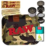 Kit para fumar RAW Bandeja para liar camuflaje mediana 34 x 27.5 cm + RAW Organic Connoisseur Kings Size (3 unidades) + Bote hermético antiolor + Grinder THE BOAT 4 partes con rascador.
