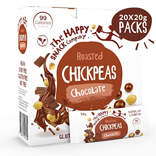 The Happy Snack Company Chocolate Chickpeas Tasty Snacks, 99 cals, Nut Free, Vegan, Gluten Free, 20g Portion, Pack of 20